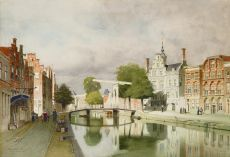 A view on Delft with the Oude Delft by Johannes Christiaan Karel Klinkenberg