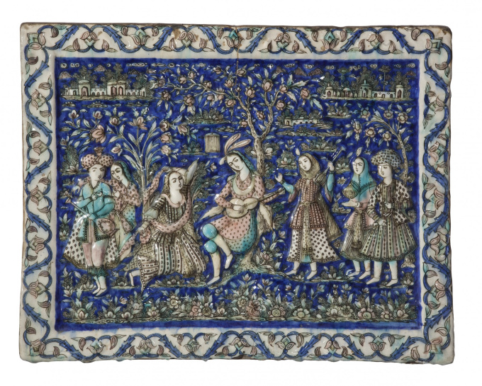 Qajar Tile by Unknown Artist
