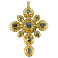 Yellow gold 18th Century Georgian cross with rose cut diamonds by Unknown Artist