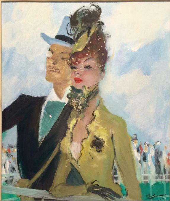 Elegant Couple, Horser-races à Deauville, France by Jean-Gabriel Domergue