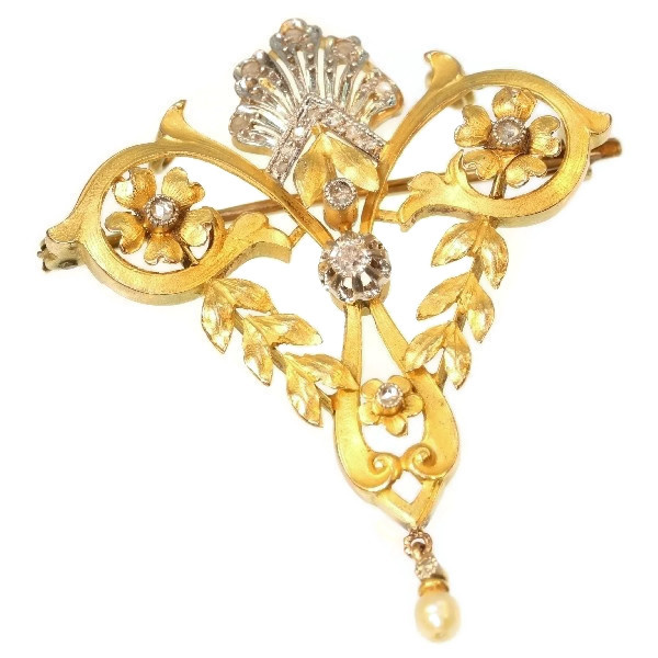 Late Victorian Belle Epoque gold diamond pendant brooch by Unknown Artist