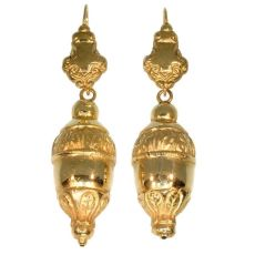 Victorian 18kt red gold dangle earrings, acorn motifs by Unknown Artist