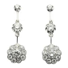 Glimmering diamond estate ear pendants by Unknown Artist