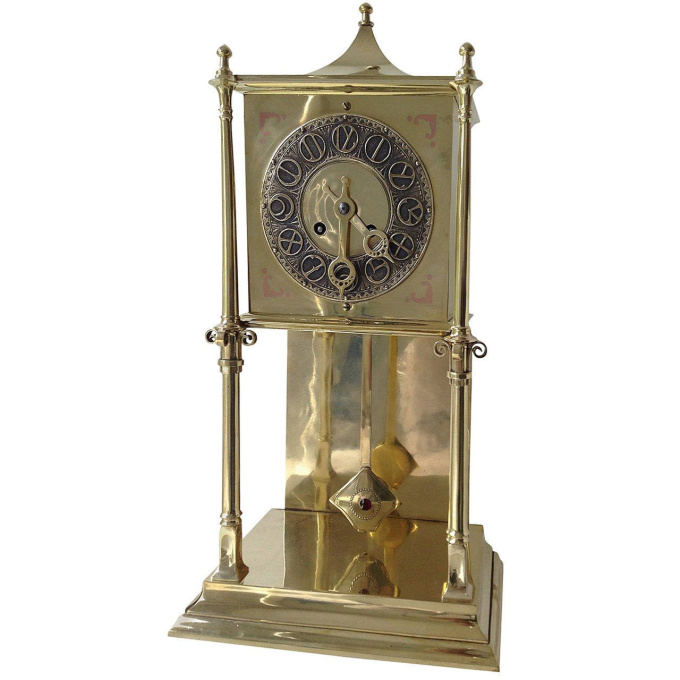 Clock, brass Dutch Art Nouveau by Johannes Cornelis Stoffels