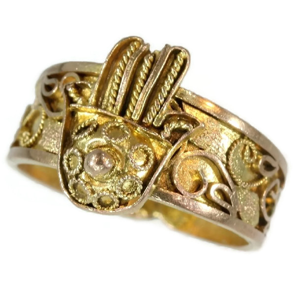 Antique ring from empire era gold filigree hand of fatima by Unknown Artist