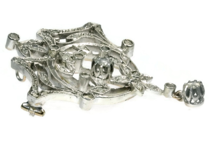 Antique Belle Epoque diamond brooch pendant by Unknown Artist