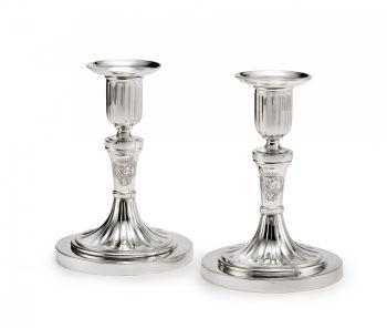 A pair Dutch of silver candlesticks by Johannes Schiotling