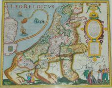 DE NEDERLANDSCHE LEEUW - SYMBOOL VAN DE LAGE LANDEN    Kopergravure uitgegeven in 1617 door Petrus Kaerius  by Kaerius, Petrus