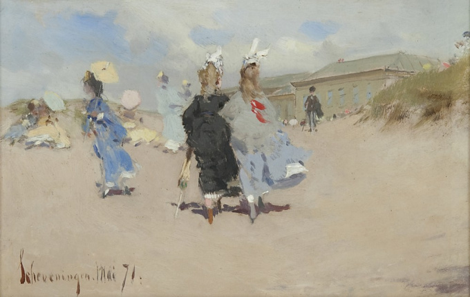 Elegant ladies at the Scheveningen beach by J.H. Kaemmerer