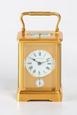 A small French gilt quarter striking carriage clock, Margaine, circa 1900 by Margaine