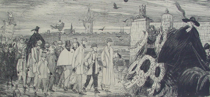 Funeral of the Dutch Etching Society (Nederlandsche Etsclub) by Marius Bauer