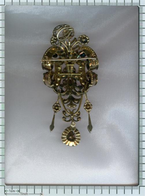 Impressive antique rose cut diamond brooch pendant with black enamel by Unknown Artist