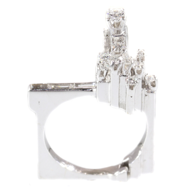 Strong design artist jewelry French platinum ring with diamonds from the sixties by Unknown
