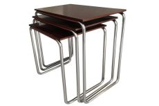 Nest of Functionalist Side Tables, Tubular Steel and Bakelite by Veha