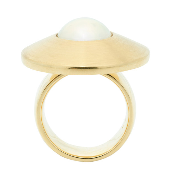 UFO ring with a mabé pearl by Unknown Artist