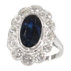 Vintage 1950's platinum diamond and sapphire engagement ring - lady Di style by Unknown