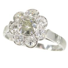 Fifties Vintage Diamond Engagement Ring Platinum 1.32 TCW by Unknown Artist