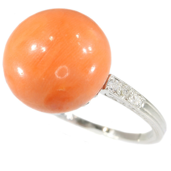 Typical platinum Art Deco diamond ring with coral by Unknown Artist
