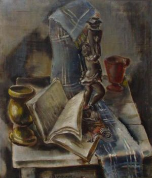 Stillife with a small statue by Otto van Rees