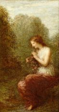 Girl arranging flowers in the woods by Henri Fantin-Latour