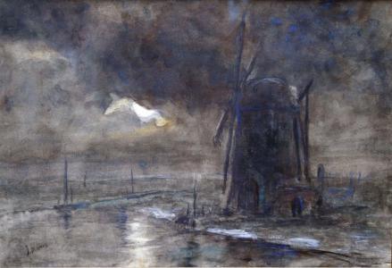 Mill at night by Jacob Maris