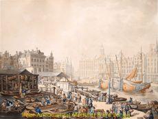 Dam Amsterdam  vismarkt by  Thomas Rowlandson