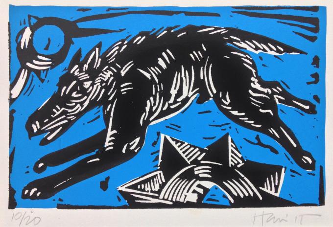 Black dog - Blue by Charlie Hewitt