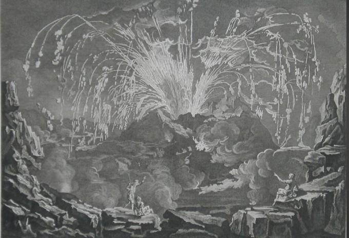 Encyclopedie: Eruption of Mount Vesuvius in 1754; Copper engraving from: Diderot & d'Alembert 'Encyclopédie, ou Dictionnaire raisonné des sciences, des arts et des métiers'. by Denis Diderot