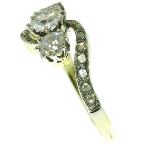 Victorian diamond cross-over ring engagement ring by Unknown
