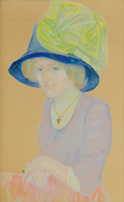 A lady with blue hat and green bow by Leo Gestel