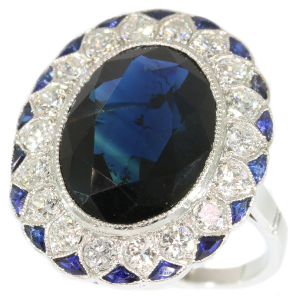 The ultimate Art Deco diamond and sapphire engagement ring model Lady Di by Unknown Artist