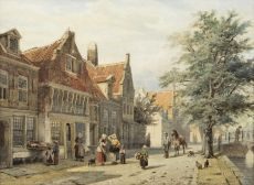 A view on the Havendijk, Enkhuizen by Cornelis Springer