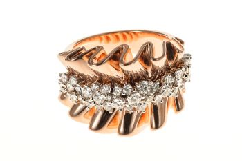 Red Gold Fantasy Ring with Diamonds by Unknown Artist