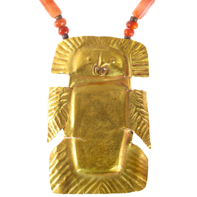Pre-Columbian gold pendant with carnelian necklace by Unknown Artist