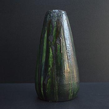 Large art nouveau vase with experimental glaze by arthur craco