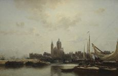 Harbour view of Amsterdam by Jan Hillebrand Wijsmuller