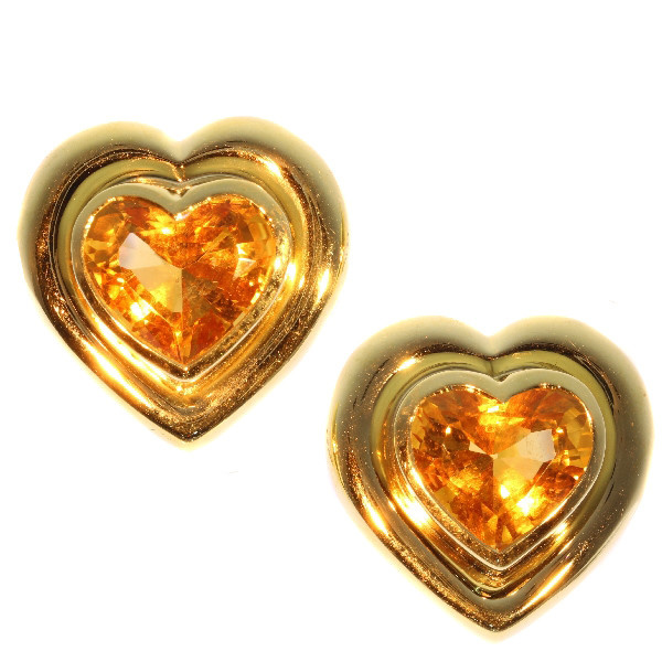 Paloma Picasso for Tiffany & Co Vintage citrine heart shaped earclips by Tiffany & Co.