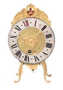 A fine Swiss gilt brass night clock 'vielleuse' B. Blaser A Berne, circa 1750 by B. Blaser Berne