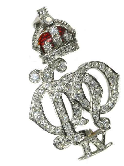 Platinum Art Deco diamond set enameled Crest of the 4th Queen's Own Hussars by Unknown