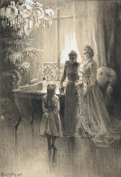 interior with two ladies and a girl by Jan Sluijters