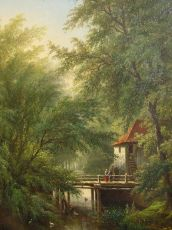 Woodland scene with watermill by Corstiaan Hendrikus de Swart