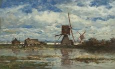 Two windmills and a farmhouse in a polder landscape