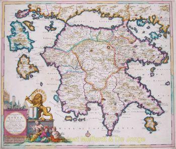 Peleponnesos antique map  by  Danckerts