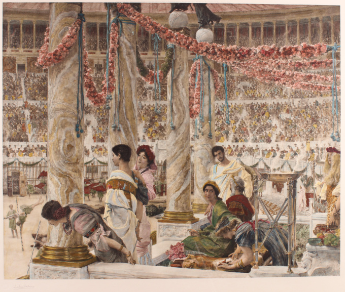 """""""Caracalla and Geta: Bear Fight in The Coliseum, AD 203"""" (original engraving/ photogravure/ print, signed and hand coloured) by Lawrence Alma-Tadema"""