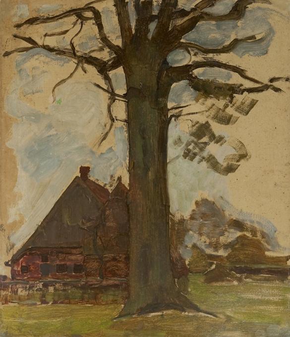 Farm with tree by Piet Mondriaan