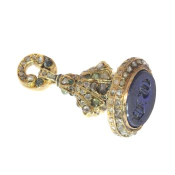 Victorian gold seal with 150 rose cut diamonds 31 emeralds and one lapis lazuli by Unknown Artist