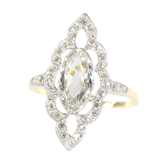 Most charming Belle Epoque diamond engagement ring by Unknown Artist