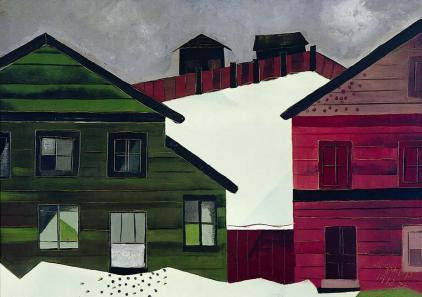 Houses in the snow by Charles Gaupp