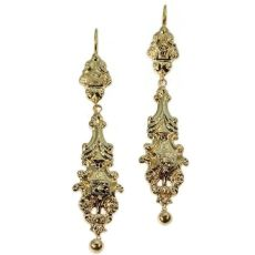 Long pendant Victorian gold earrings by Unknown Artist