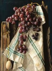 Tea towel with grapes by Lodewijk Bruckman